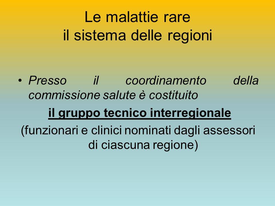Le malattie rare il sistema delle regioni Presso il coordinamento della commissione salute è costituito il gruppo tecnico interregionale (funzionari e clinici nominati dagli assessori di ciascuna regione)