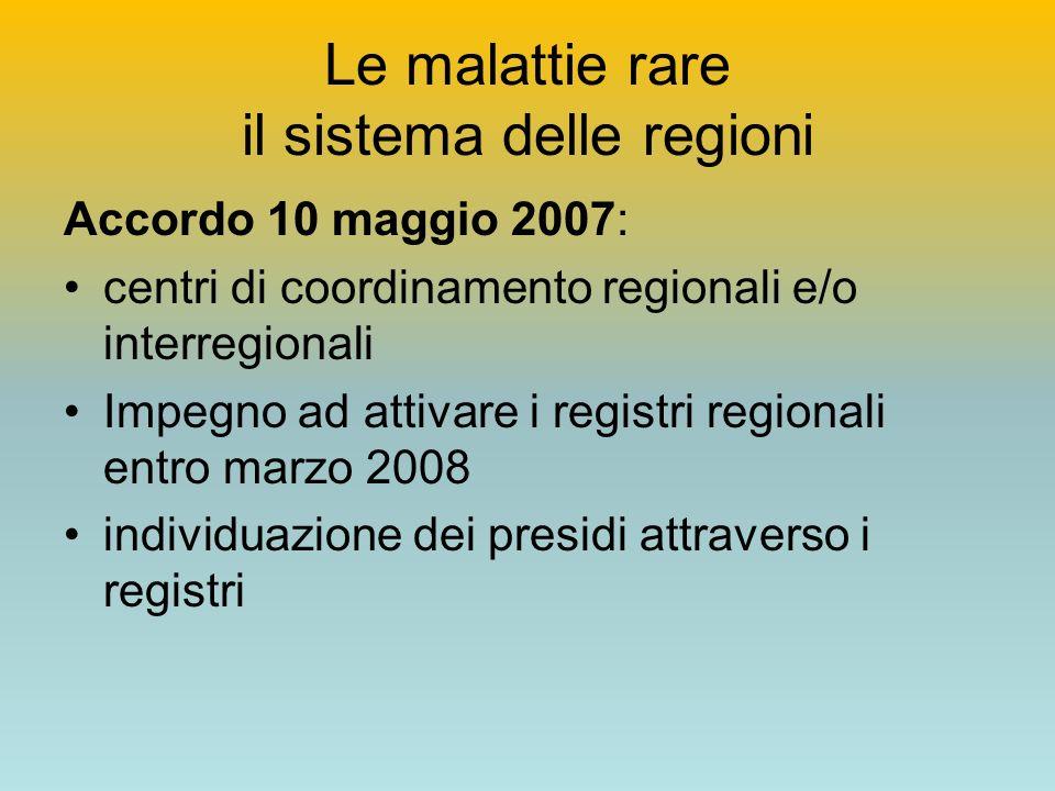 Le malattie rare il sistema delle regioni Accordo 10 maggio 2007: centri di coordinamento regionali e/o interregionali Impegno ad attivare i registri regionali entro marzo 2008 individuazione dei presidi attraverso i registri
