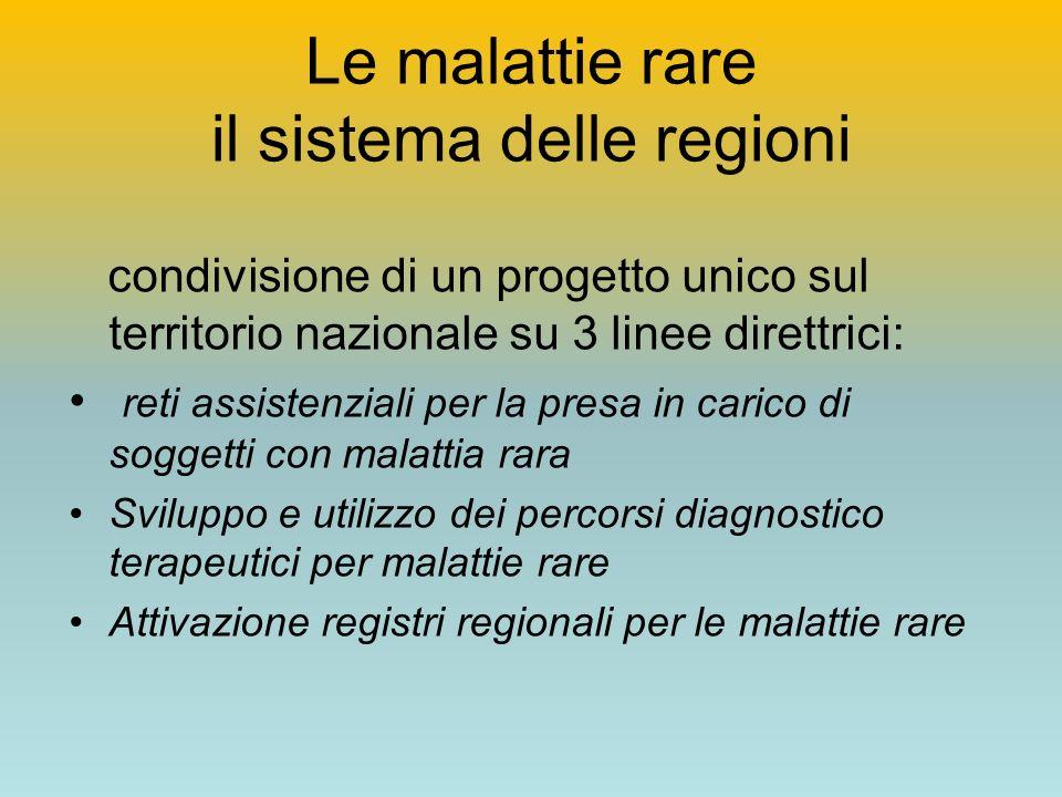 Le malattie rare il sistema delle regioni condivisione di un progetto unico sul territorio nazionale su 3 linee direttrici: reti assistenziali per la