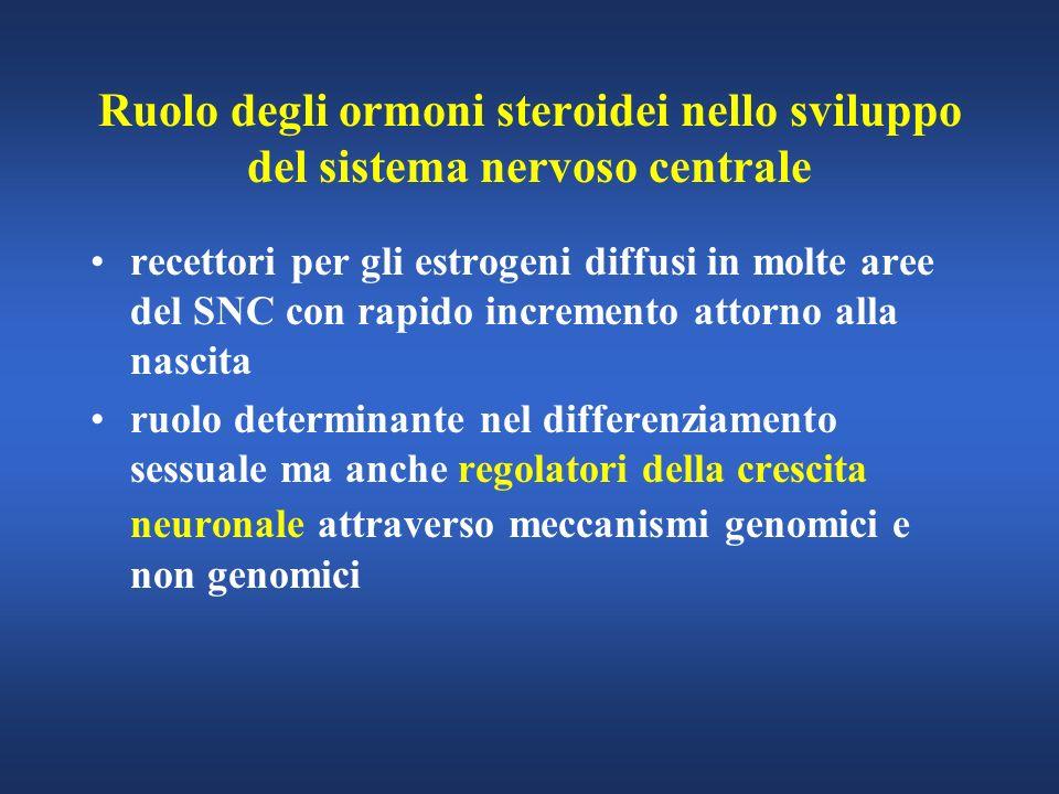 Ruolo degli ormoni steroidei nello sviluppo del sistema nervoso centrale recettori per gli estrogeni diffusi in molte aree del SNC con rapido incremen