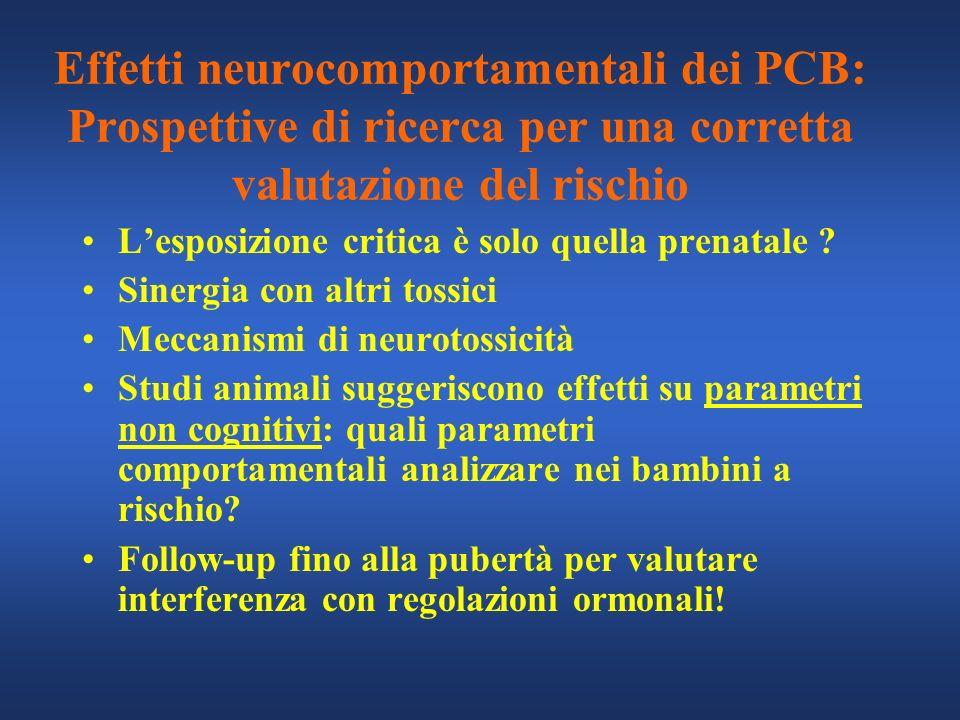 Effetti neurocomportamentali dei PCB: Prospettive di ricerca per una corretta valutazione del rischio Lesposizione critica è solo quella prenatale ? S