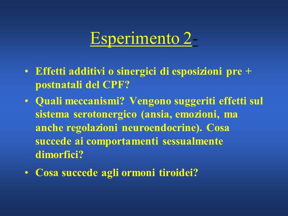 Esperimento 2- Effetti additivi o sinergici di esposizioni pre + postnatali del CPF? Quali meccanismi? Vengono suggeriti effetti sul sistema serotoner