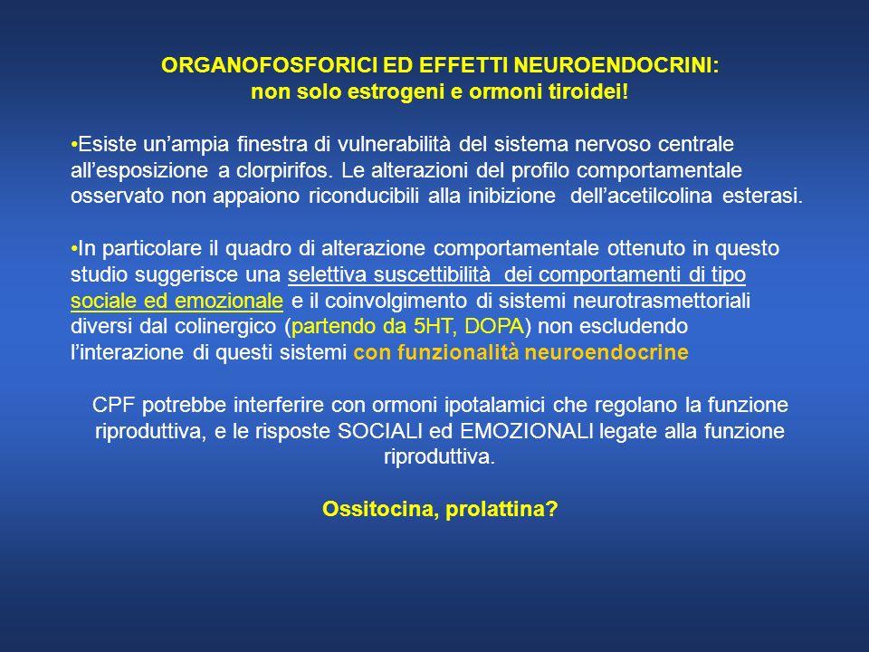 ORGANOFOSFORICI ED EFFETTI NEUROENDOCRINI: non solo estrogeni e ormoni tiroidei! Esiste unampia finestra di vulnerabilità del sistema nervoso centrale