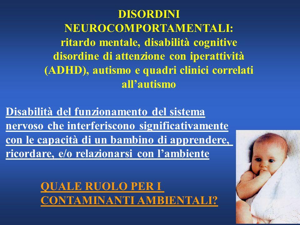 DISORDINI NEUROCOMPORTAMENTALI: ritardo mentale, disabilità cognitive disordine di attenzione con iperattività (ADHD), autismo e quadri clinici correl