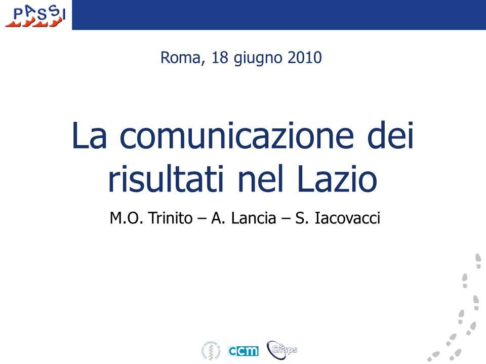 La comunicazione dei risultati nel Lazio M.O. Trinito – A. Lancia – S. Iacovacci Roma, 18 giugno 2010