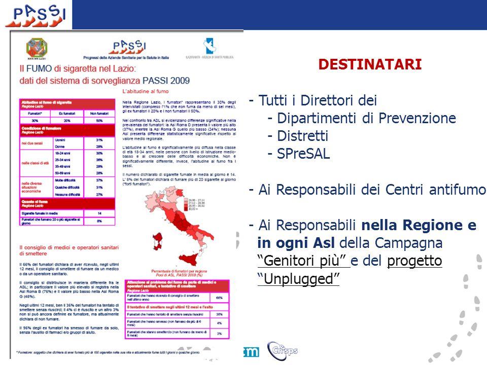 DESTINATARI - Tutti i Direttori dei - Dipartimenti di Prevenzione - Distretti - SPreSAL - Ai Responsabili dei Centri antifumo - Ai Responsabili nella