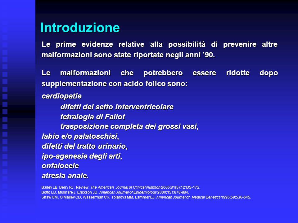 Introduzione Sulla base di prove di efficacia ottenute in Paesi diversi dallItalia si può affermare che la regolare supplementazione di acido folico iniziata prima del concepimento riduce il rischio di DTN del 50- 70%.