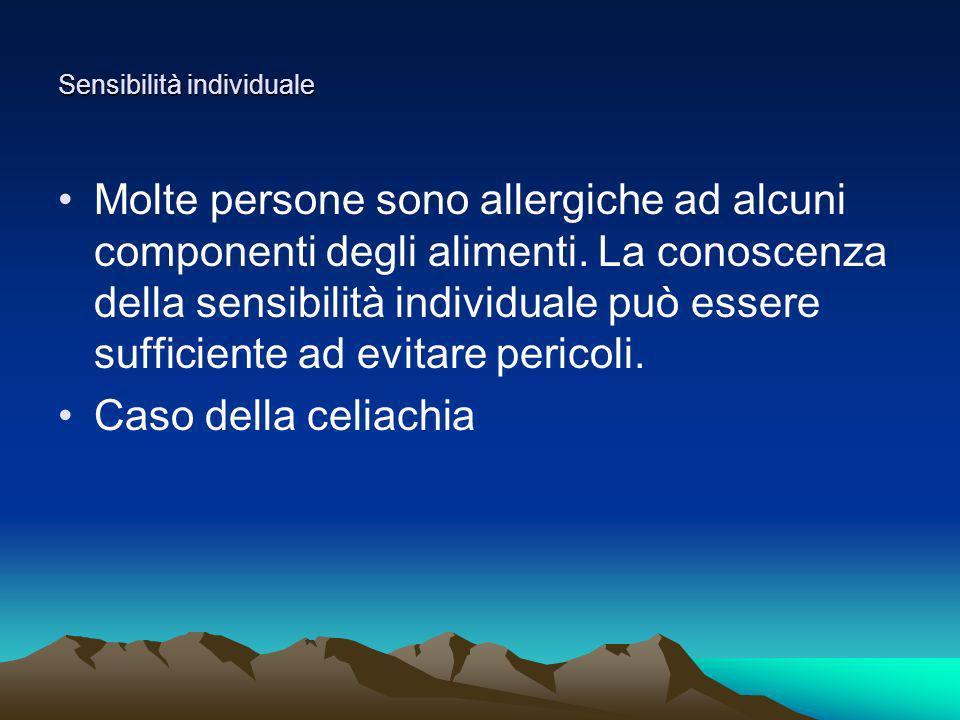 Sensibilità individuale Molte persone sono allergiche ad alcuni componenti degli alimenti. La conoscenza della sensibilità individuale può essere suff