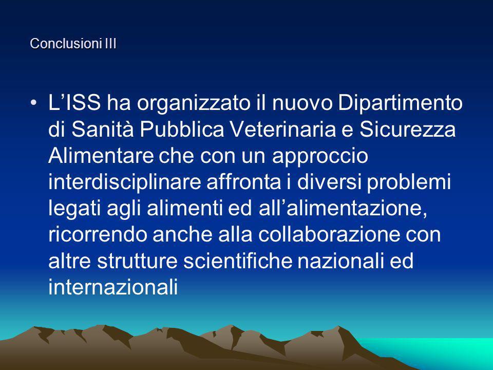 Conclusioni III LISS ha organizzato il nuovo Dipartimento di Sanità Pubblica Veterinaria e Sicurezza Alimentare che con un approccio interdisciplinare