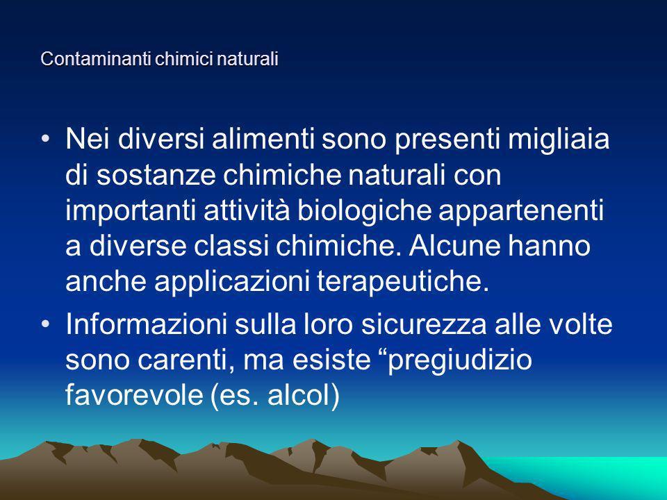 Contaminanti chimici naturali Nei diversi alimenti sono presenti migliaia di sostanze chimiche naturali con importanti attività biologiche appartenent