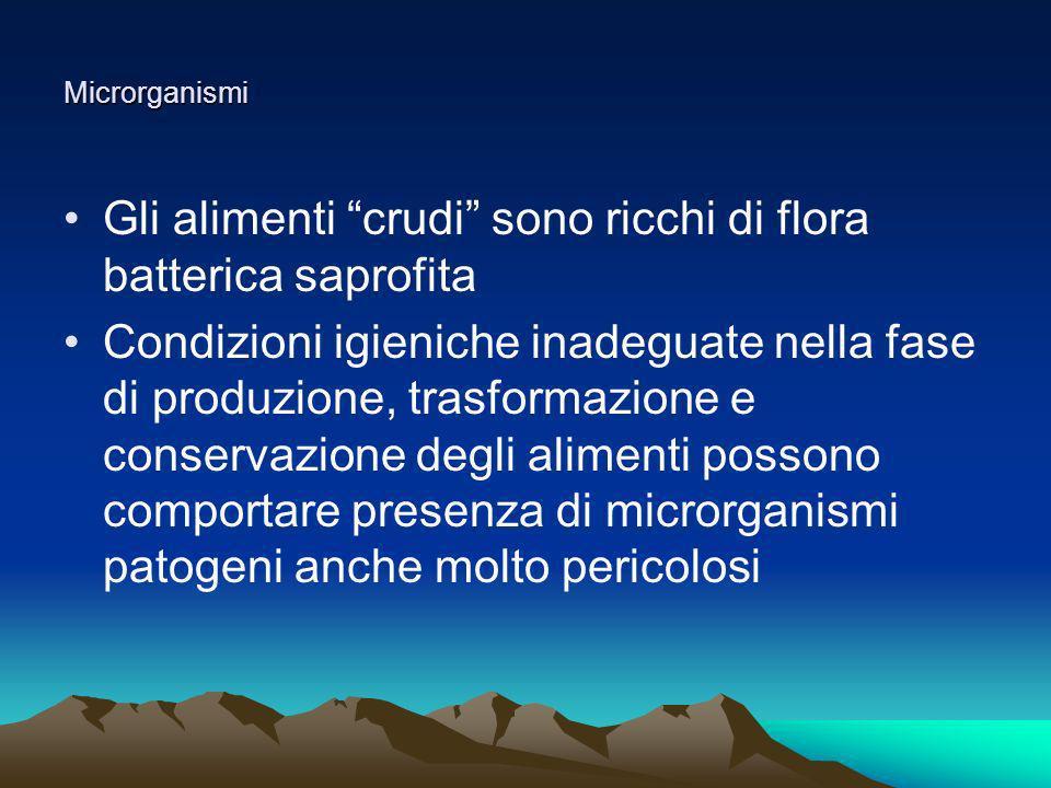 Microrganismi Gli alimenti crudi sono ricchi di flora batterica saprofita Condizioni igieniche inadeguate nella fase di produzione, trasformazione e c