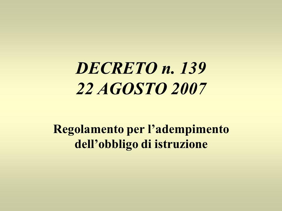 DECRETO n. 139 22 AGOSTO 2007 Regolamento per ladempimento dellobbligo di istruzione