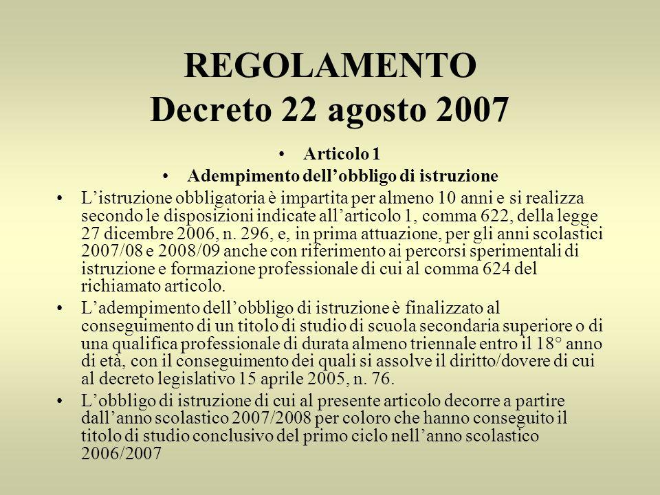 REGOLAMENTO Decreto 22 agosto 2007 Articolo 1 Adempimento dellobbligo di istruzione Listruzione obbligatoria è impartita per almeno 10 anni e si realizza secondo le disposizioni indicate allarticolo 1, comma 622, della legge 27 dicembre 2006, n.