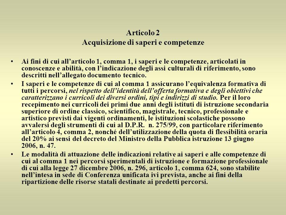 Ai fini di cui allarticolo 1, comma 1, i saperi e le competenze, articolati in conoscenze e abilità, con lindicazione degli assi culturali di riferimento, sono descritti nellallegato documento tecnico.