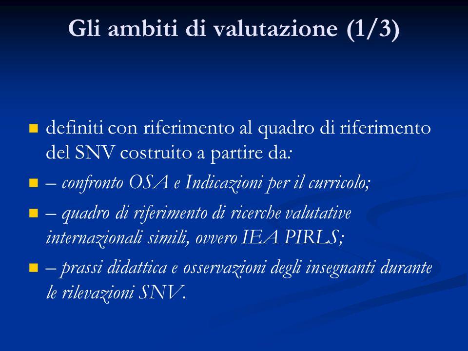 Gli ambiti di valutazione (1/3) definiti con riferimento al quadro di riferimento del SNV costruito a partire da: – confronto OSA e Indicazioni per il