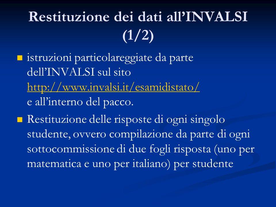 Restituzione dei dati allINVALSI (1/2) istruzioni particolareggiate da parte dellINVALSI sul sito http://www.invalsi.it/esamidistato/ e allinterno del