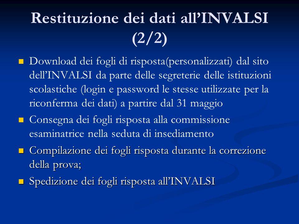 Restituzione dei dati allINVALSI (2/2) Download dei fogli di risposta(personalizzati) dal sito dellINVALSI da parte delle segreterie delle istituzioni