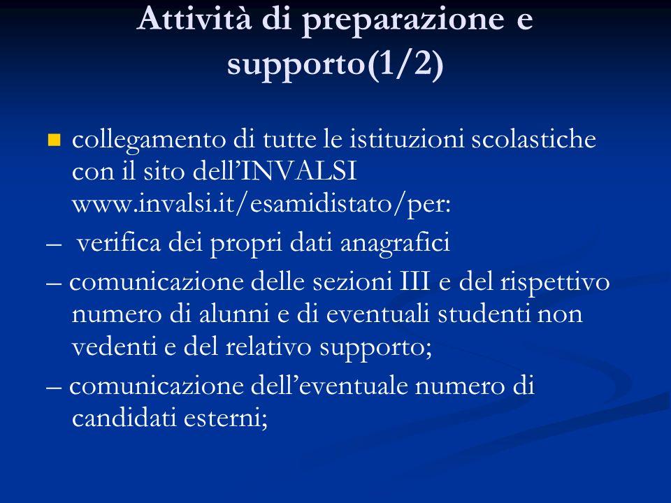 Attività di preparazione e supporto(1/2) collegamento di tutte le istituzioni scolastiche con il sito dellINVALSI www.invalsi.it/esamidistato/per: – v