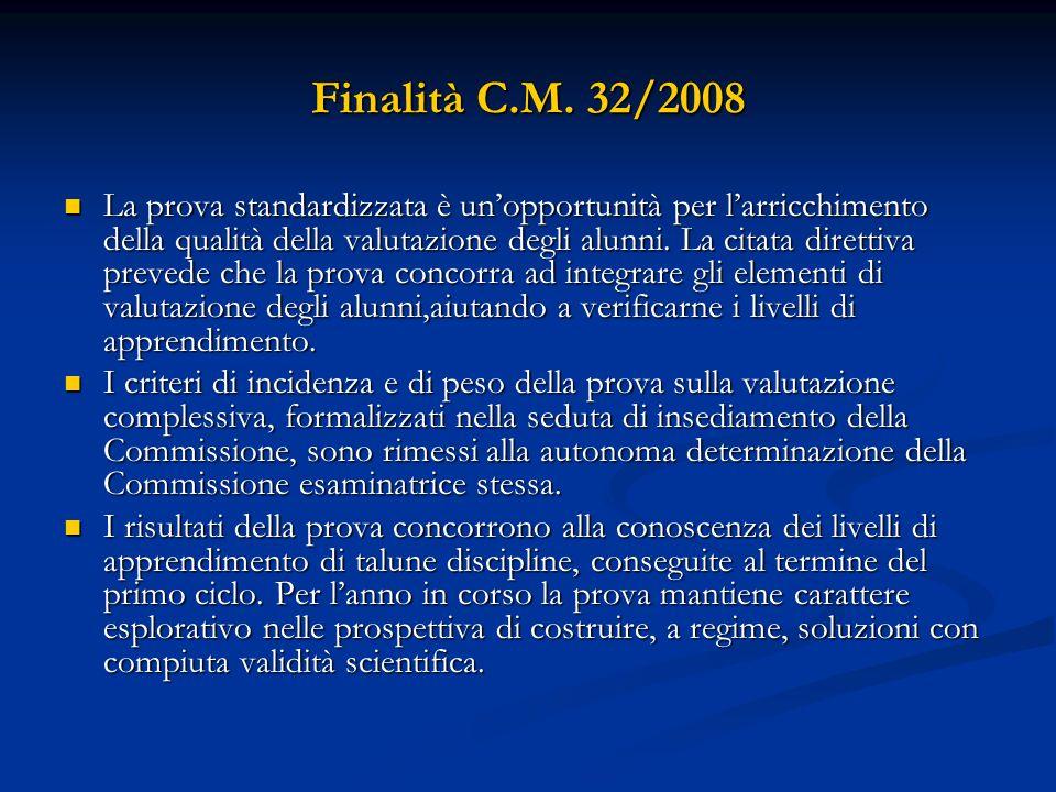 Finalità C.M. 32/2008 La prova standardizzata è unopportunità per larricchimento della qualità della valutazione degli alunni. La citata direttiva pre