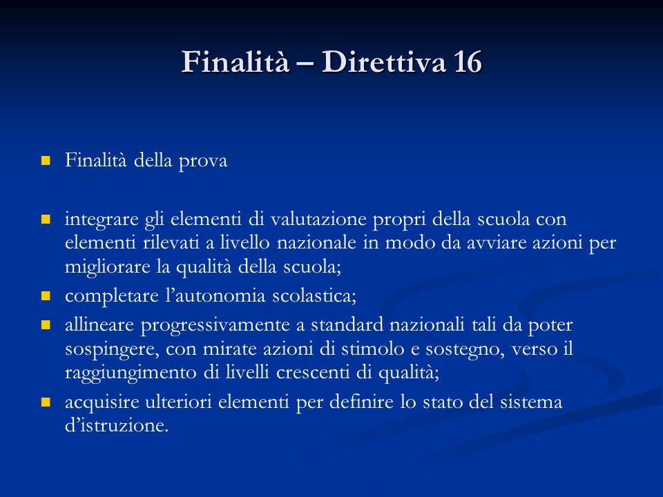 Finalità – Direttiva 16 Finalità della prova integrare gli elementi di valutazione propri della scuola con elementi rilevati a livello nazionale in mo