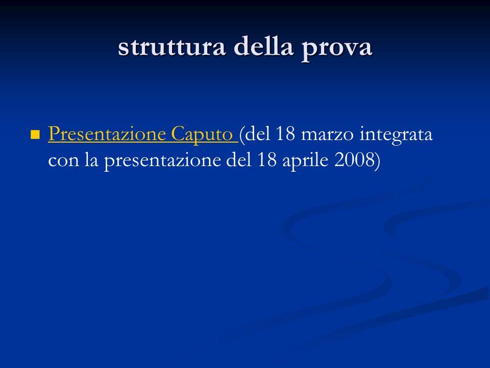 struttura della prova Presentazione Caputo (del 18 marzo integrata con la presentazione del 18 aprile 2008) Presentazione Caputo