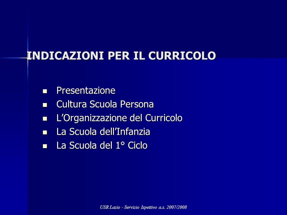 INDICAZIONI PER IL CURRICOLO Presentazione Presentazione Cultura Scuola Persona Cultura Scuola Persona LOrganizzazione del Curricolo LOrganizzazione d