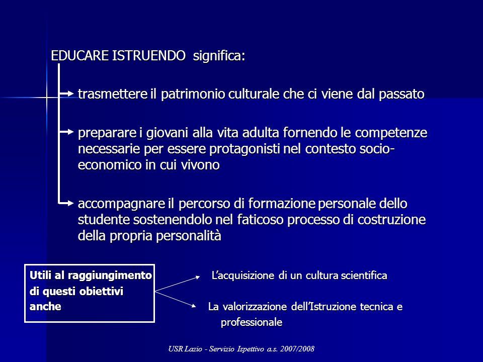 EDUCARE ISTRUENDO significa: EDUCARE ISTRUENDO significa: trasmettere il patrimonio culturale che ci viene dal passato preparare i giovani alla vita a