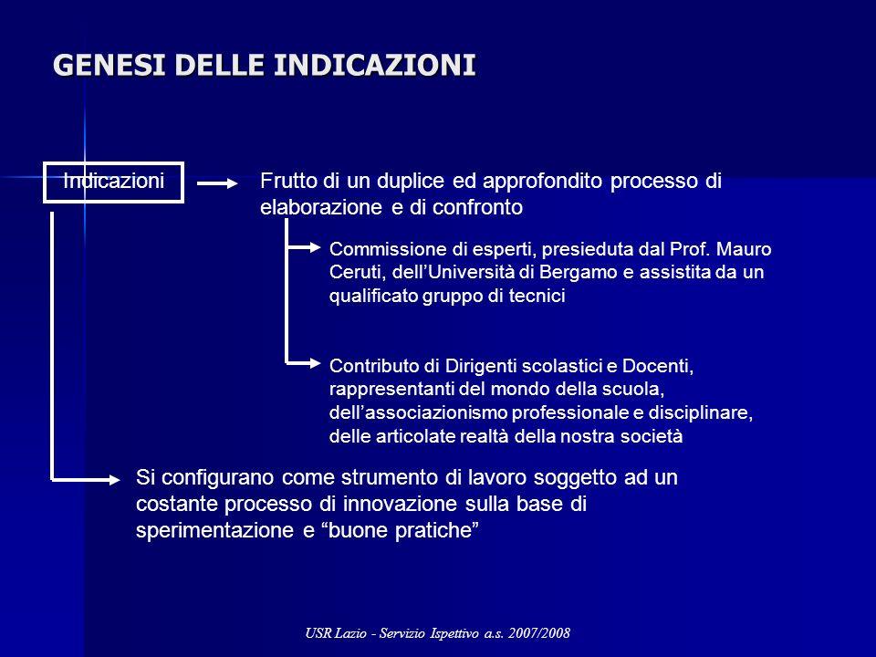 GENESI DELLE INDICAZIONI Indicazioni Frutto di un duplice ed approfondito processo di elaborazione e di confronto Commissione di esperti, presieduta dal Prof.