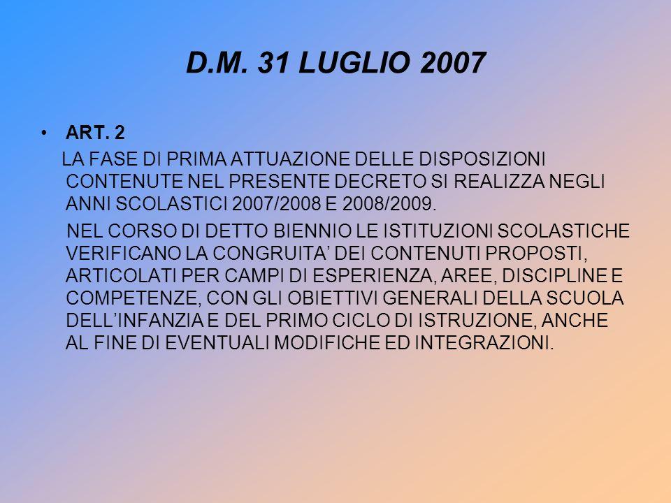 D.M. 31 LUGLIO 2007 ART.