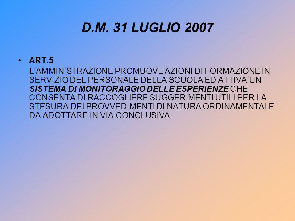 D.M. 31 LUGLIO 2007 ART.5 LAMMINISTRAZIONE PROMUOVE AZIONI DI FORMAZIONE IN SERVIZIO DEL PERSONALE DELLA SCUOLA ED ATTIVA UN SISTEMA DI MONITORAGGIO D
