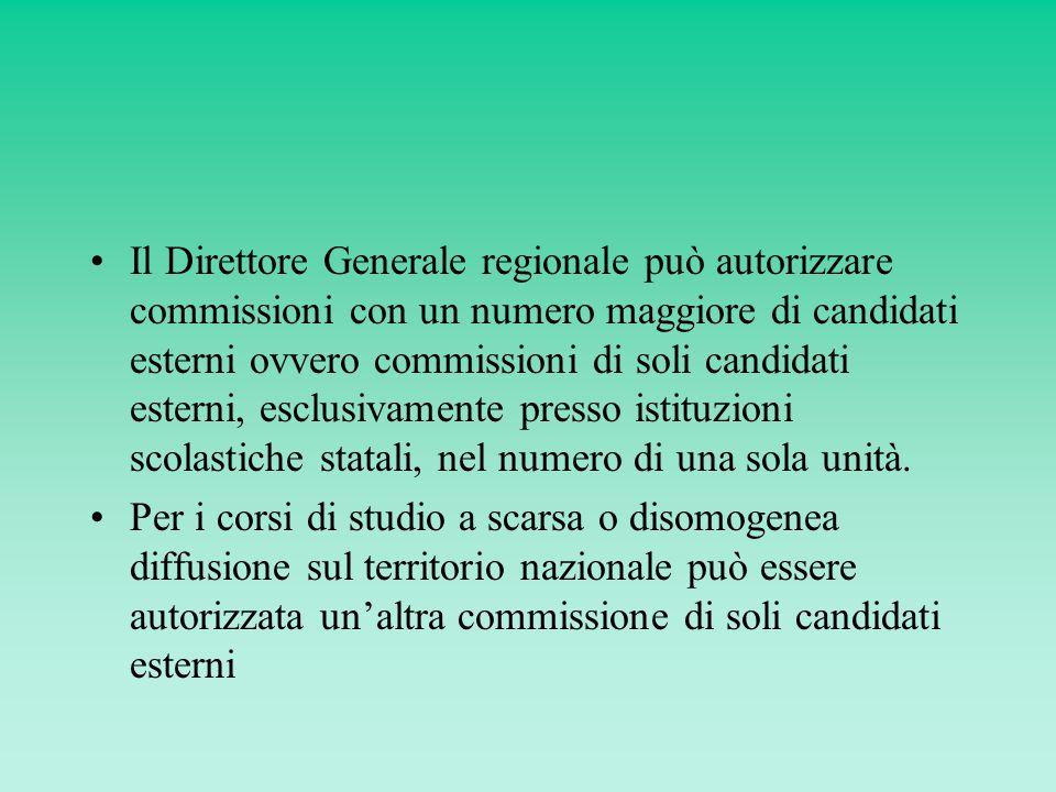 Il Direttore Generale regionale può autorizzare commissioni con un numero maggiore di candidati esterni ovvero commissioni di soli candidati esterni, esclusivamente presso istituzioni scolastiche statali, nel numero di una sola unità.
