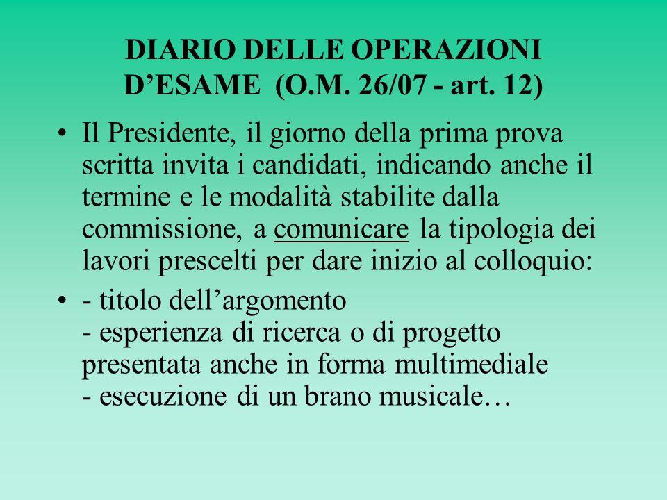 DIARIO DELLE OPERAZIONI DESAME (O.M. 26/07 - art.
