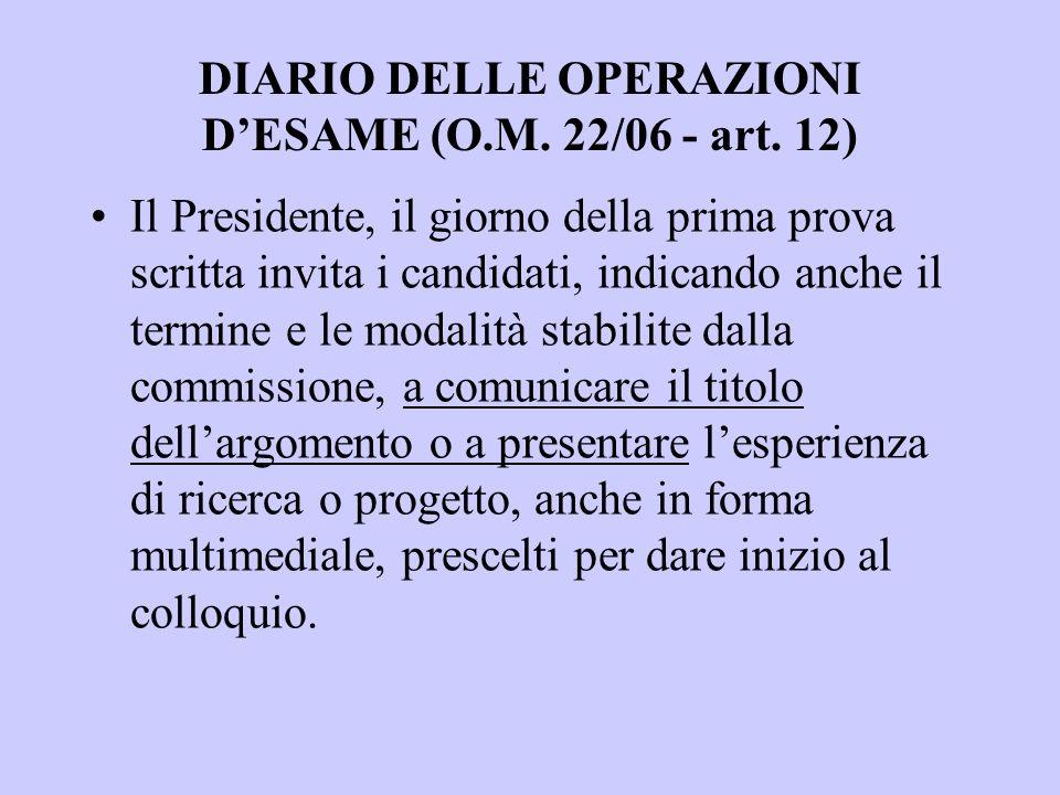DIARIO DELLE OPERAZIONI DESAME (O.M. 22/06 - art.