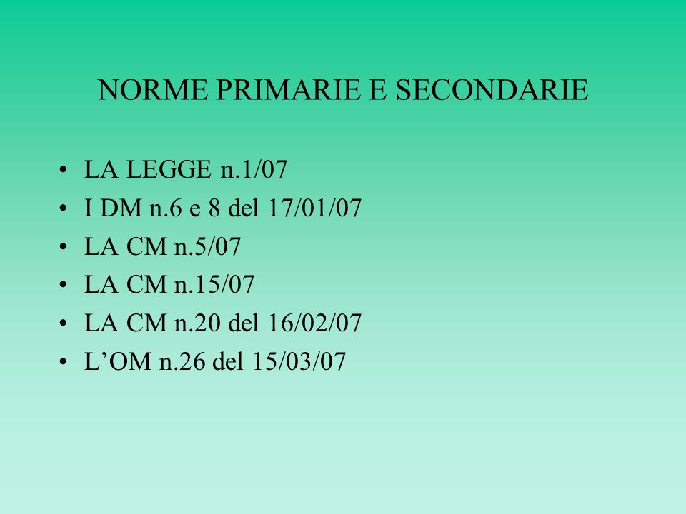 NORME PRIMARIE E SECONDARIE LA LEGGE n.1/07 I DM n.6 e 8 del 17/01/07 LA CM n.5/07 LA CM n.15/07 LA CM n.20 del 16/02/07 LOM n.26 del 15/03/07