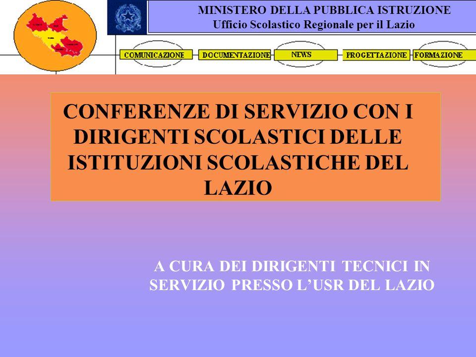 CONFERENZE DI SERVIZIO CON I DIRIGENTI SCOLASTICI DELLE ISTITUZIONI SCOLASTICHE DEL LAZIO A CURA DEI DIRIGENTI TECNICI IN SERVIZIO PRESSO LUSR DEL LAZIO MINISTERO DELLA PUBBLICA ISTRUZIONE Ufficio Scolastico Regionale per il Lazio