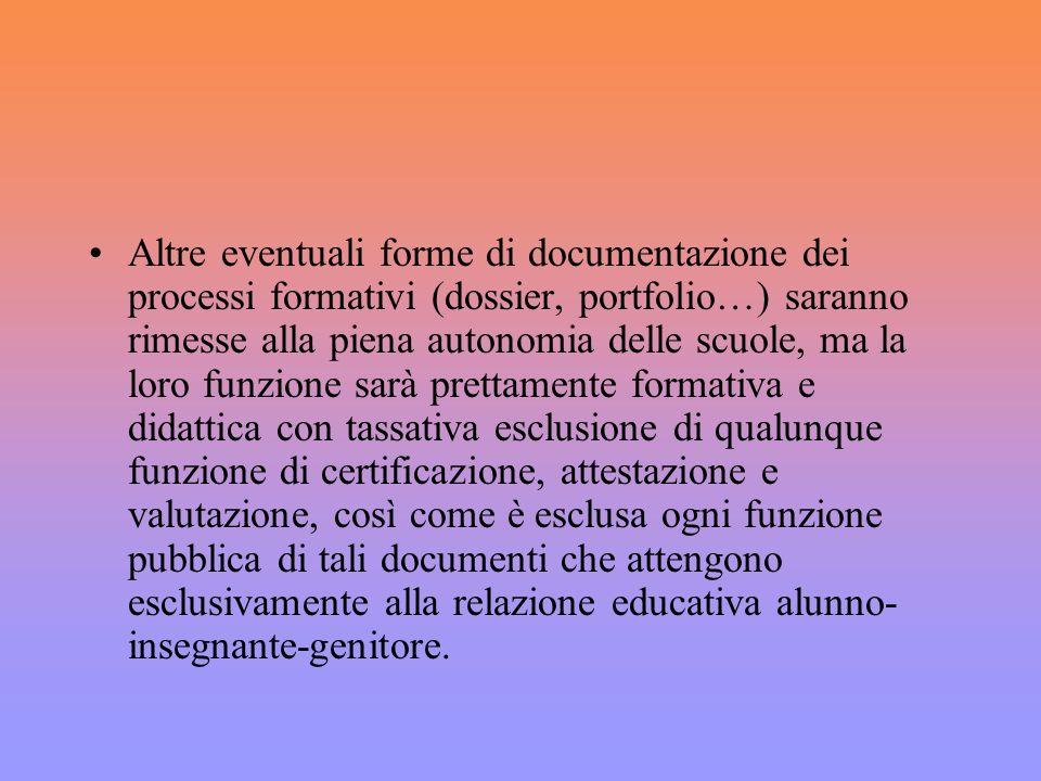 Altre eventuali forme di documentazione dei processi formativi (dossier, portfolio…) saranno rimesse alla piena autonomia delle scuole, ma la loro fun