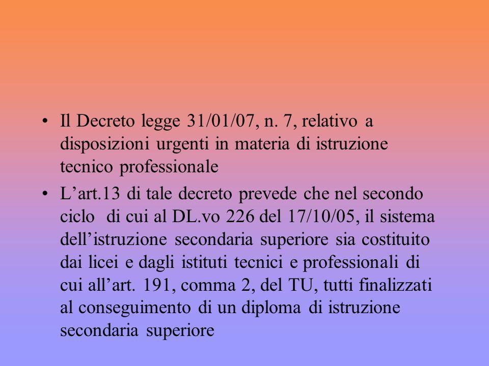 Il Decreto legge 31/01/07, n.