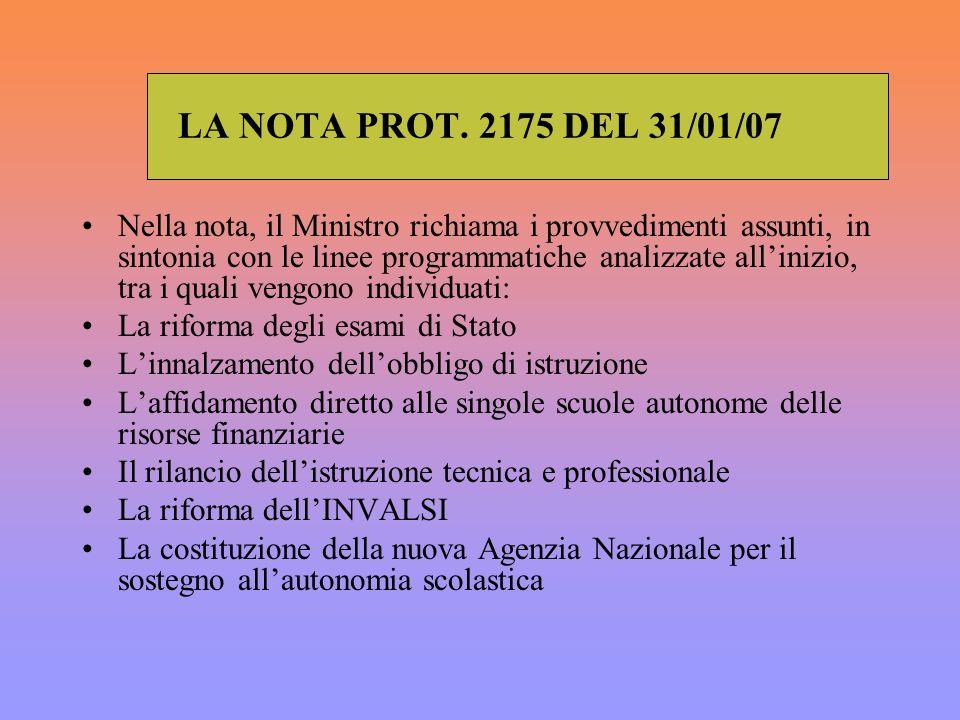 LA NOTA PROT. 2175 DEL 31/01/07 Nella nota, il Ministro richiama i provvedimenti assunti, in sintonia con le linee programmatiche analizzate allinizio