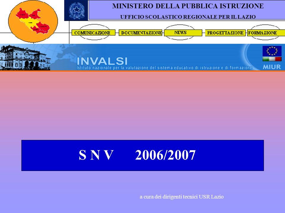 S N V 2006/2007 a cura dei dirigenti tecnici USR Lazio MINISTERO DELLA PUBBLICA ISTRUZIONE UFFICIO SCOLASTICO REGIONALE PER IL LAZIO
