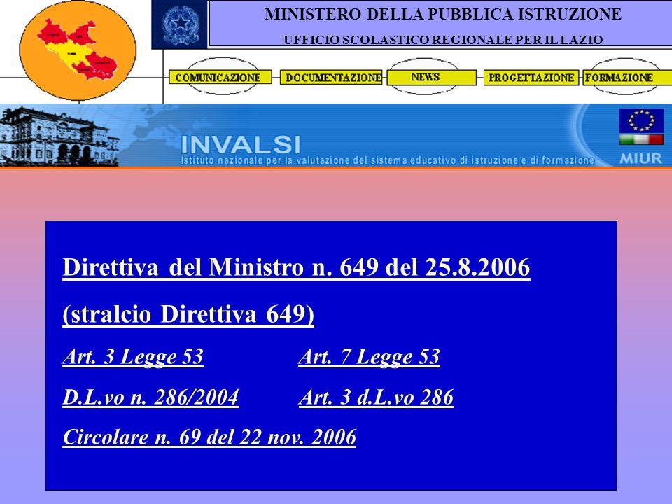 a cura dei dirigenti tecnici USR Lazio MINISTERO DELLA PUBBLICA ISTRUZIONE UFFICIO SCOLASTICO REGIONALE PER IL LAZIO Direttiva del Ministro n. 649 del