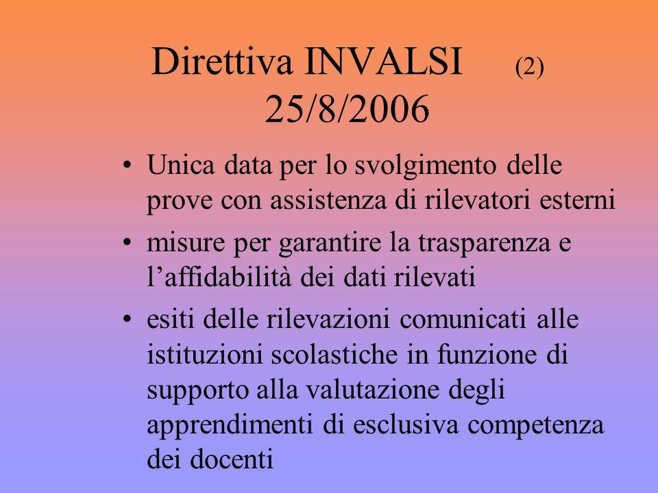 Direttiva INVALSI (2) 25/8/2006 Unica data per lo svolgimento delle prove con assistenza di rilevatori esterni misure per garantire la trasparenza e l