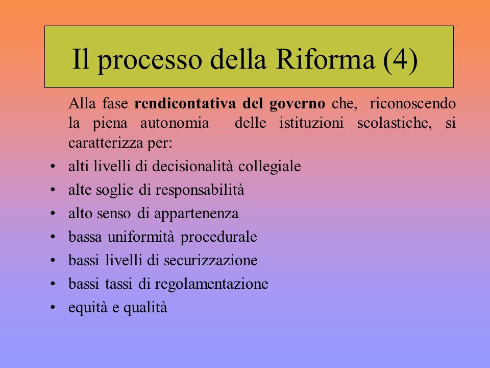 Il processo della Riforma (4) Alla fase rendicontativa del governo che, riconoscendo la piena autonomia delle istituzioni scolastiche, si caratterizza