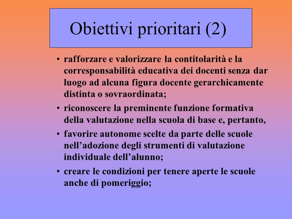 Obiettivi prioritari (2) rafforzare e valorizzare la contitolarità e la corresponsabilità educativa dei docenti senza dar luogo ad alcuna figura docen