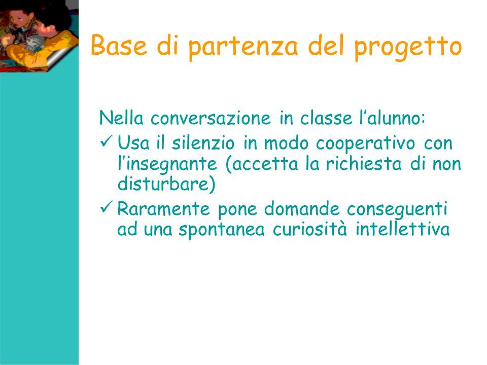 Base di partenza del progetto Conseguenze passività intellettiva ed argomentativa mancanza di co-protagonismo cognitivo