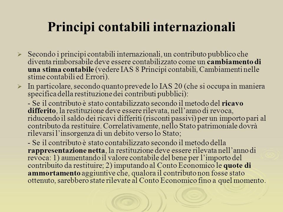 Principi contabili internazionali Secondo i principi contabili internazionali, un contributo pubblico che diventa rimborsabile deve essere contabilizzato come un cambiamento di una stima contabile (vedere IAS 8 Principi contabili, Cambiamenti nelle stime contabili ed Errori).