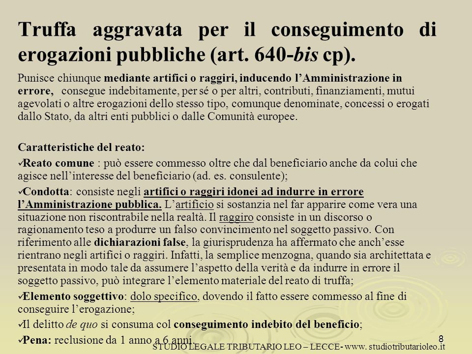 Truffa aggravata per il conseguimento di erogazioni pubbliche (art.