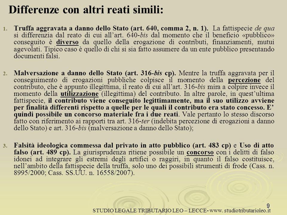 1.1. Truffa aggravata a danno dello Stato (art. 640, comma 2, n.