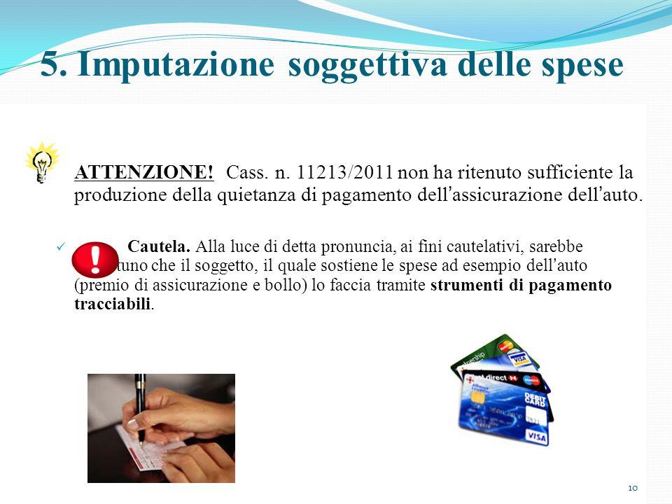 ATTENZIONE! Cass. n. 11213/2011 non ha ritenuto sufficiente la produzione della quietanza di pagamento dellassicurazione dellauto. Cautela. Alla luce