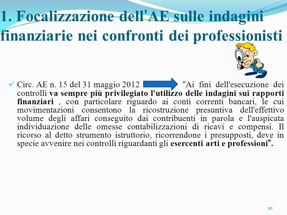 1. Focalizzazione dellAE sulle indagini finanziarie nei confronti dei professionisti Circ. AE n. 15 del 31 maggio 2012 Ai fini dell'esecuzione dei con