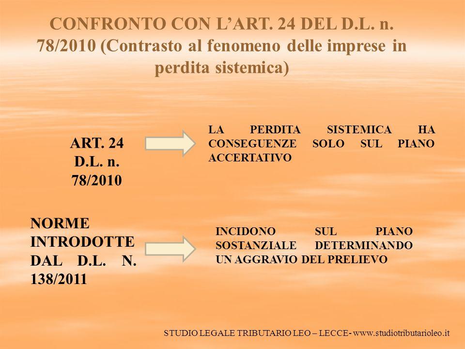 CONFRONTO CON LART. 24 DEL D.L. n. 78/2010 (Contrasto al fenomeno delle imprese in perdita sistemica) ART. 24 D.L. n. 78/2010 LA PERDITA SISTEMICA HA